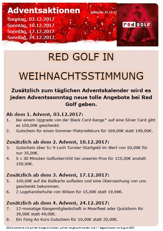 Adventsaktion REDGOLF 2017